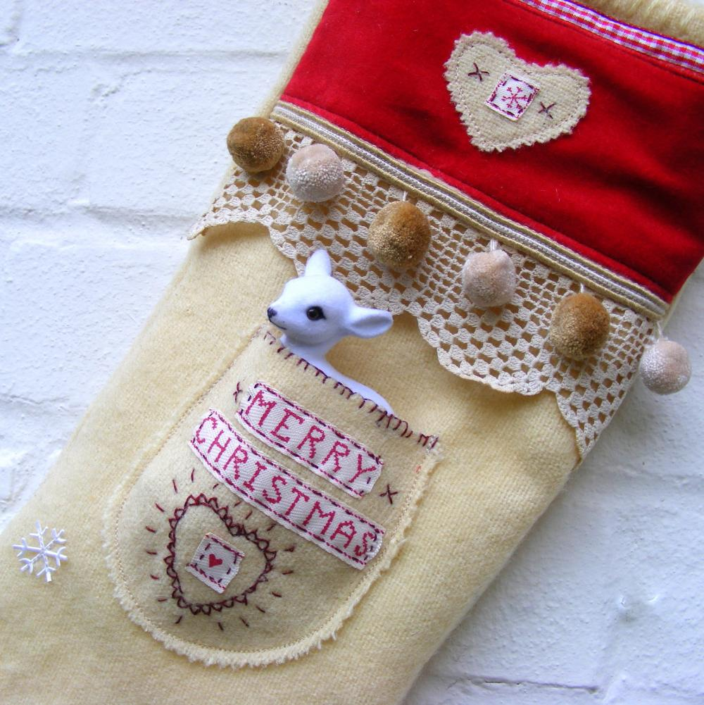 Velvet and Wool Christmas Stocking